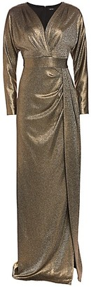 Teri Jon by Rickie Freeman Metallic Dolman Sleeve Gown