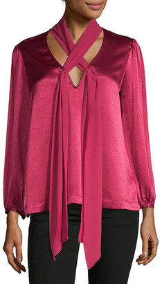Ella Moss V-Neck Tie Front Top