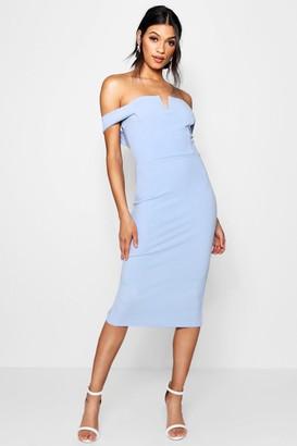 boohoo Bardot Midi Bodycon Dress