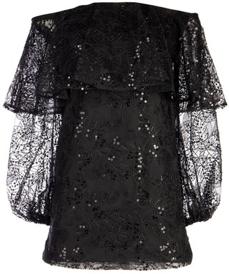 Rotate by Birger Christensen Off-Shoulder Lace Sequin Dress