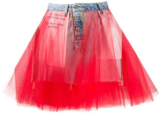 Unravel Project Tulle Insert Denim Skirt