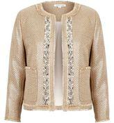 River Island Womens Beige metallic embellished boucle jacket