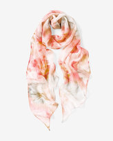 White House Black Market Silk Watercolor Oblong Scarf