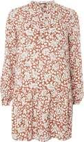 **First & I Orange Floral Shirt Dress