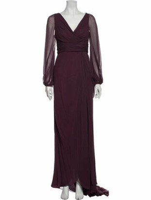 J. Mendel Silk Long Dress Purple