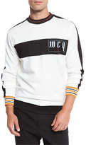 McQ by Alexander McQueen Molteni Striped Logo Long-Sleeve Crewneck T-Shirt, Off White