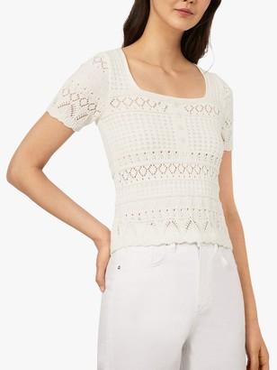Warehouse Crochet Neck Lace Tee, Cream