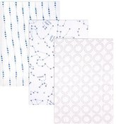 Hudson Baby 3 Piece Muslin Swaddle Blanket, Blue Constellations by