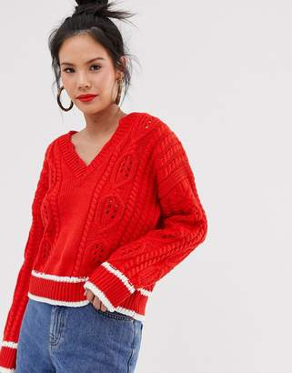 Moon River cable knit v-neck jumper-Red