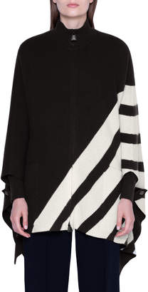 Akris Cashmere Diagonal-Striped Cape Sweater