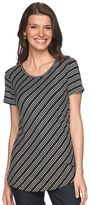Apt. 9 Women's Ribbed Metallic Striped Tee