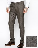 Asos Slim Fit Pants In Herringbone