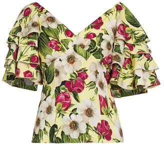 Dolce & Gabbana Charmeuse Floral-Print Ruffle-Sleeve Top
