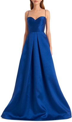 ML Monique Lhuillier Sapphire Sweetheart Spaghetti-Strap Gown with Full Skirt