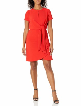 Tahari ASL Women's Short Sleeve Keyhole Neck Tie Front Dress