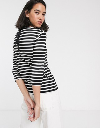 Only Amanda 3/4 sleeve stripe shirt with bow detail