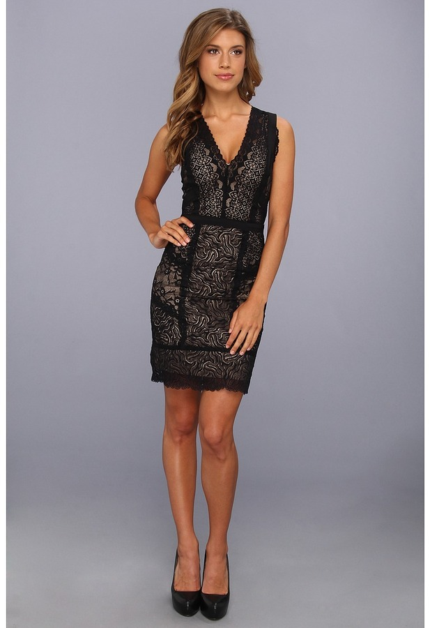 Nicole Miller Daiquiri Lace V-Neck Dress (Black/Nude) - Apparel