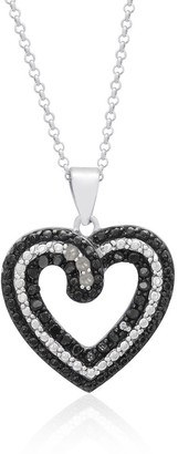 Finesque Sterling Silver 1/4ct TDW Black Diamond Heart Necklace