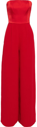 Mikael Aghal Strapless Satin-paneled Crepe Wide-leg Jumpsuit