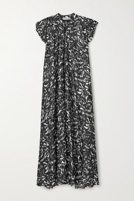 Balenciaga Asymmetric Floral-print Silk-jacquard Midi Dress - Black