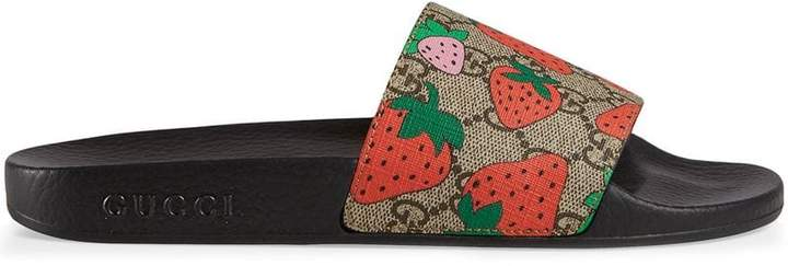 Gucci GG Strawberry slide sandal