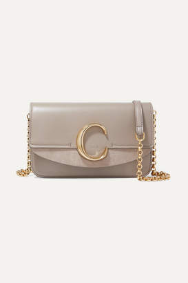 Chloé C Mini Suede-trimmed Leather Shoulder Bag - Gray