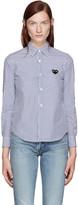 Comme des Garcons Blue & White Striped Heart Shirt