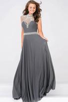 Jovani Sheer Embellished Neckline Mesh Prom Dress JVN48641