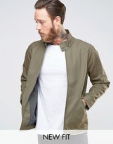 Asos Harrington Jacket With Funnel Neck In Stone