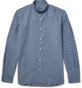 Caruso Grandad-Collar Cotton-Chambray Shirt