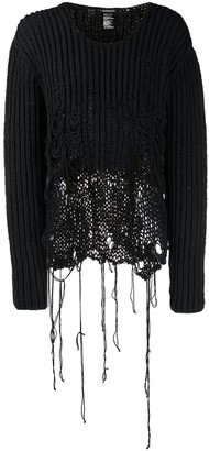 Ann Demeulemeester Crew Neck Distressed Cable Knit Jumper