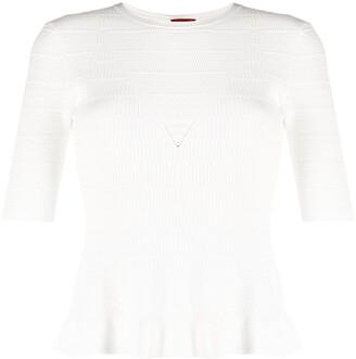 HUGO BOSS Open Knit Short-Sleeved Top