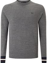 Fred Perry Textured Yarn Pique Crew Neck Jumper, Grey