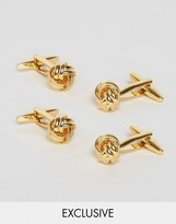 Reclaimed Vintage Inspired Gold Knot Cufflinks In 2 Pack