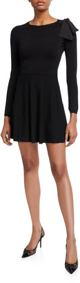RED Valentino Long-Sleeve Mini Dress with Bow Shoulder & Sheer Inset