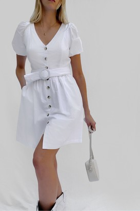 French Connection Besima Poplin Button Through Belted Dress