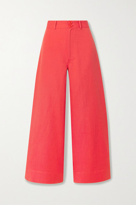 Apiece Apart Merida Linen And Cotton-blend Twill Wide-leg Pants - Papaya