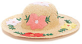 August Hats Whimsical Floral-Embroidered Straw Floppy Hat
