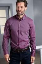 Mens Next Purple Button Down Collar Slim Fit Single Cuff Trim Detail Signature Shirt - Purple