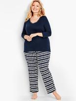 Talbots Womans V-Neck Lace Tee & Knit Penguin Pant Set