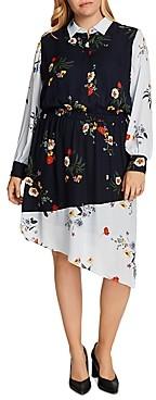 Vince Camuto Plus Floral-Print Asymmetric-Hem Dress