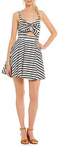 Jodi Kristopher Tie-Front Sweetheart Neck Striped Fit-and-Flare Cutout Dress