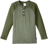 City Threads Stripe Raglan Henley Tee (Toddler/Kid) - Navy - 3T