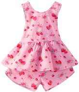 Mud Kingdom Girl's Straberry Backless Tops and Shorts set 4T
