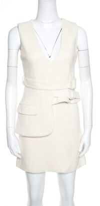 Victoria Victoria Beckham Cream Wool V-Neck Belted Sleeveless Dress S