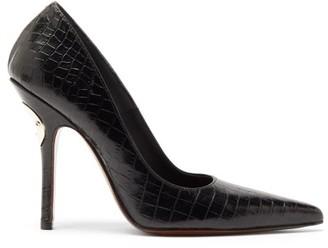 Vetements Party Bottle-opener Crocodile-effect Leather Pumps - Womens - Black