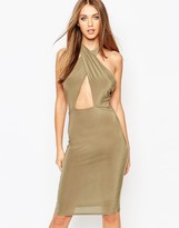 Missguided Slinky Cross Front Halterneck Cut Out Midi Dress