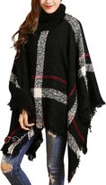 Vinaka Women's Pullover Batwing Sleeves Sweater Poncho Cape Cloak Tassels (Black)