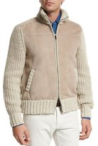 Loro Piana Lamb Suede & Tweed Jacket, Natural/Taupe