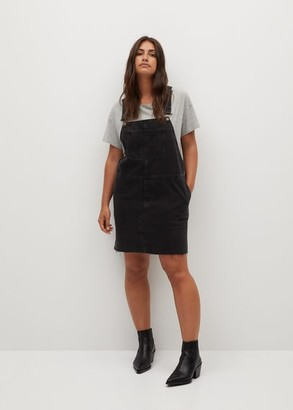 MANGO Black denim pinafore dress